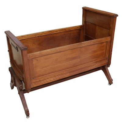 Victorian Eastlake Style Oak Baby Bassinet, Mid to Late 19th Century