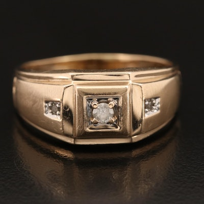 10K Diamond Three Stone Tapered Band