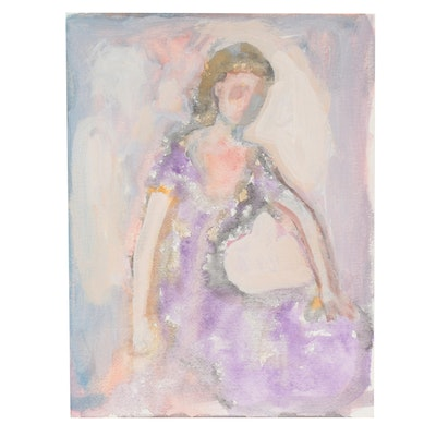 Murat Kaboulov Mixed Media Painting of Woman in Dress, circa 2000