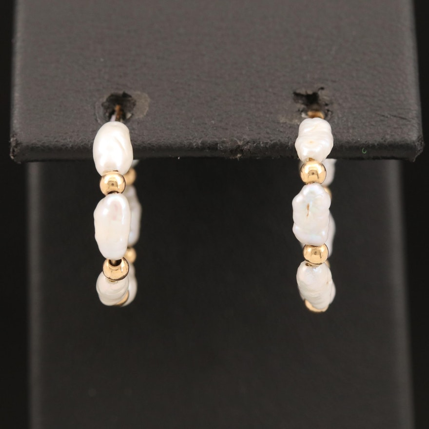 14K Baroque Pearl Hoop Earrings