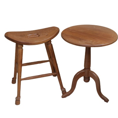 Hand-Crafted American White Oak Stool and Tripod Table, 20th Century