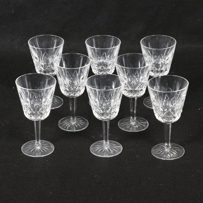 "Waterford ""Lismore"" Cut Crystal Wine Wine Goblets, Set of Eight"