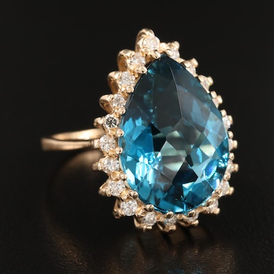 14K 19.79 CT London Blue Topaz and Diamond Ring