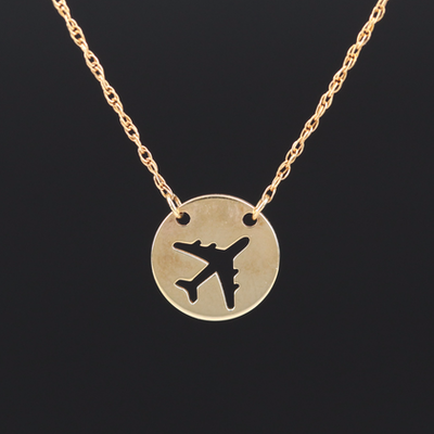 Turkish 14K Airplane Necklace