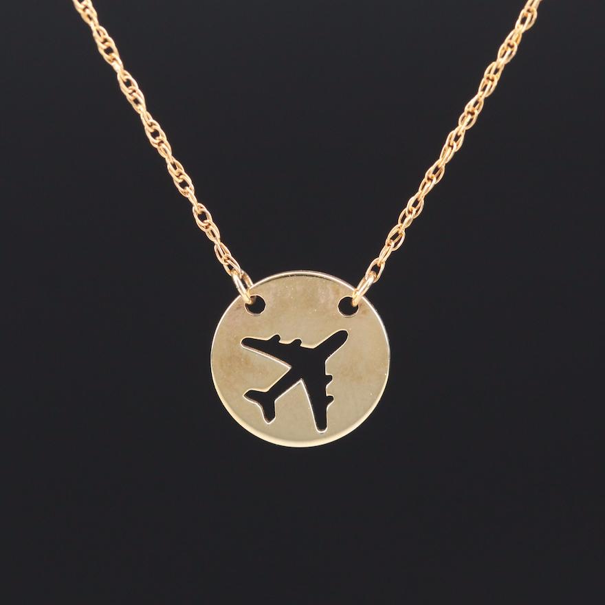 Turkish 14K Airplane Necklace