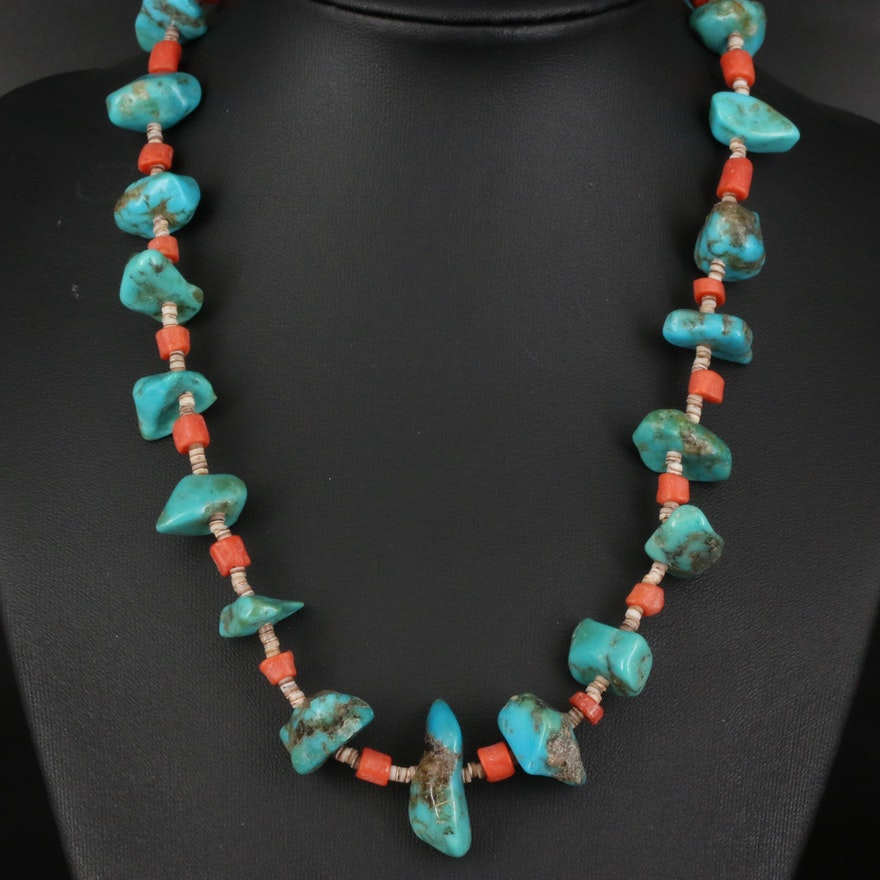Turquoise and Coral Necklace with Sterling Clasp