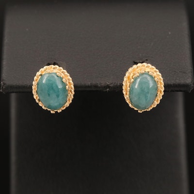 14K Oval Jadeite Cabochon Earrings