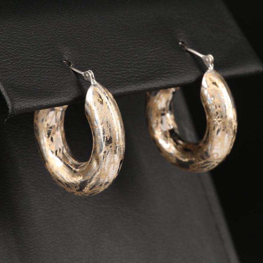14K Textured Tubular Hoop Earrings