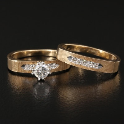 Vintage 14K Diamond Wedding Set with Brushed Finish