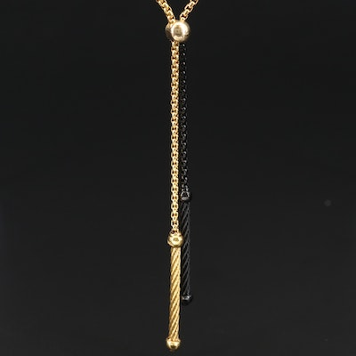 Alor Box Chain Tassel Necklace with 18K Accent