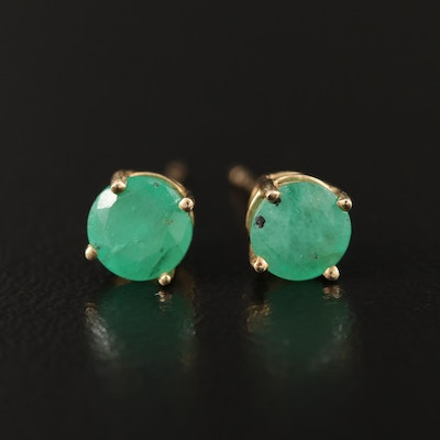 14K Round Faceted Emerald Stud Earrings