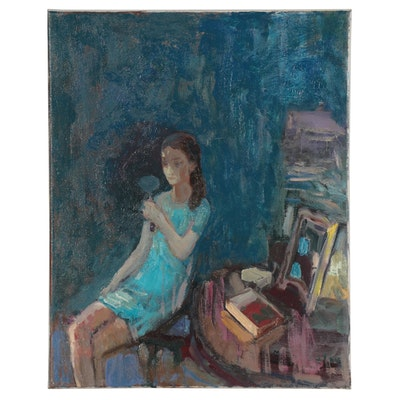 Murat Kaboulov Oil Painting of Figure with Mirror, circa 2000