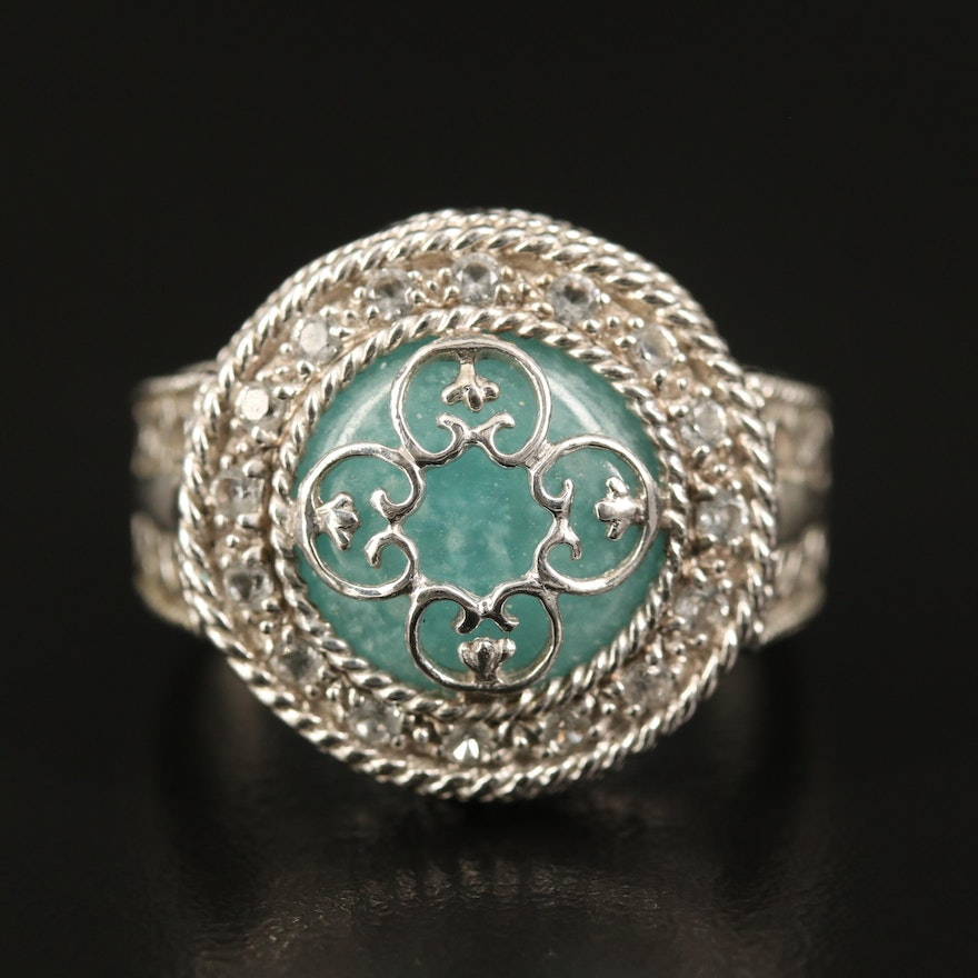 Sterling Beryl and Topaz Ring