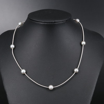 Italian 14K Pearl Station Necklace