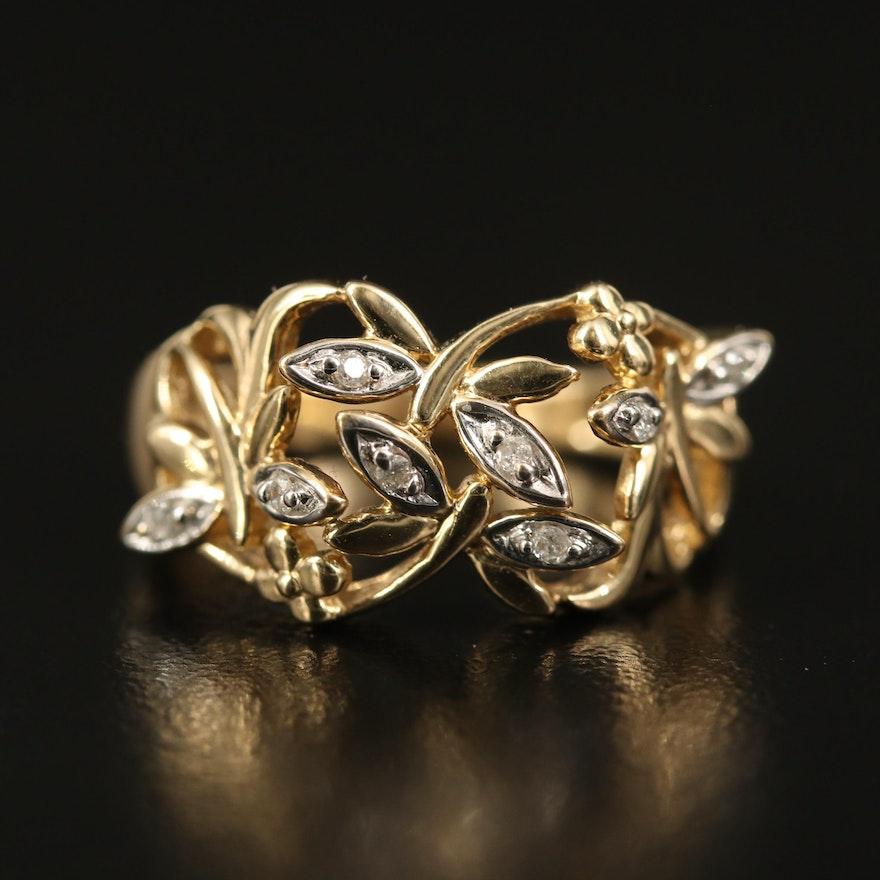 14K Diamond Dragonfly Ring