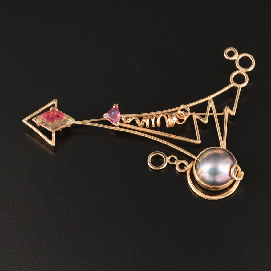 14K Abstract Brooch Including Pearl, Parti-Colored Tourmaline and Ruby