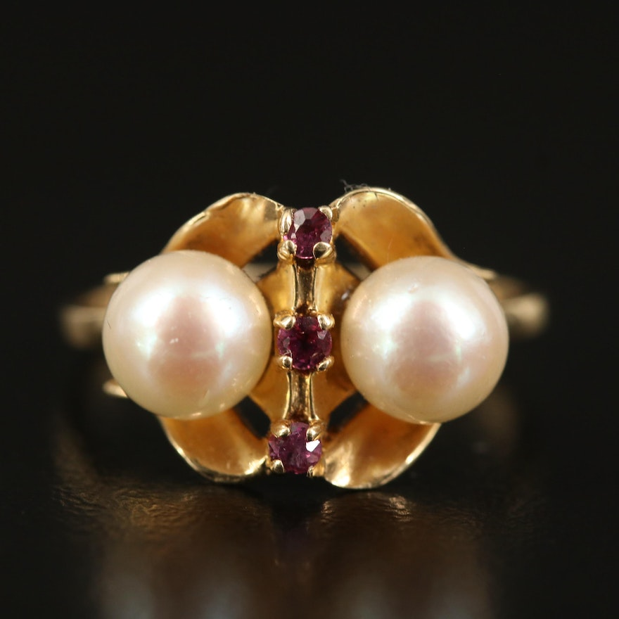 14K Pearl and Spinel Ring
