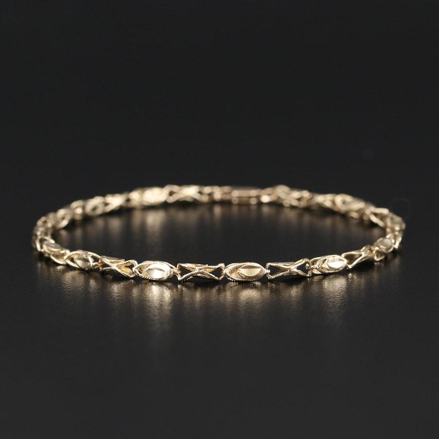 14K Leaf Link Bracelet