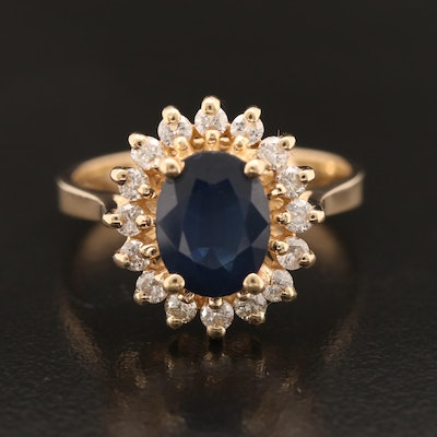 14K 2.03 CT Sapphire and Diamond Ring
