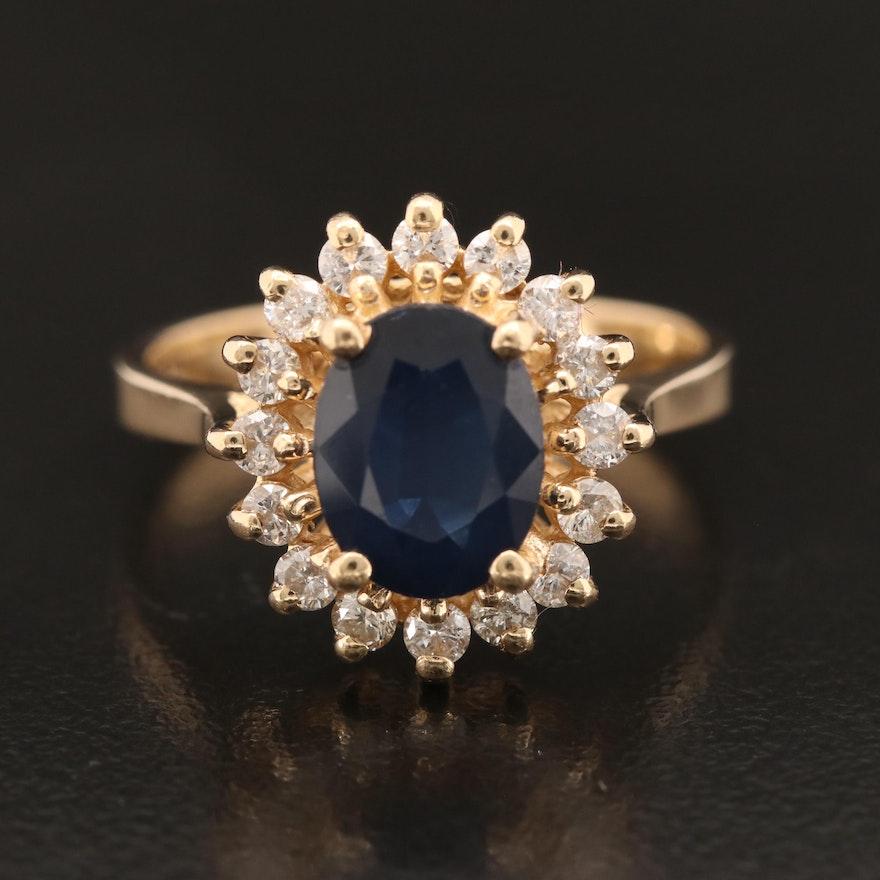 14K 2.03 CT Sapphire and Diamond Ring