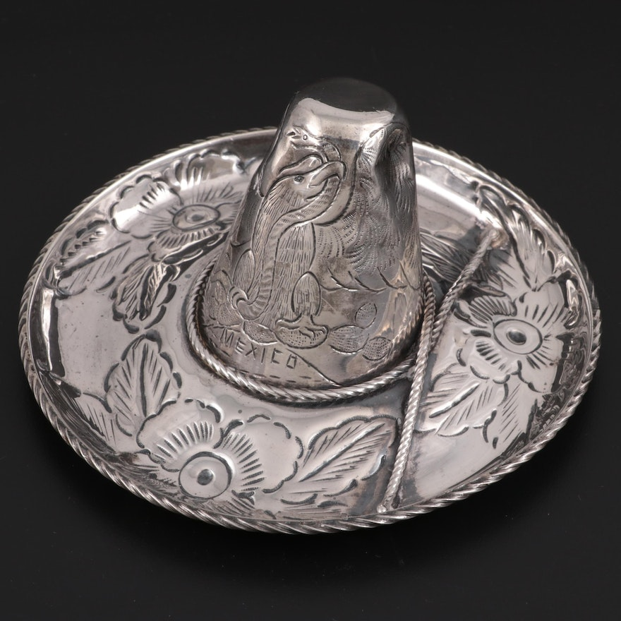 Maciel Mexican Sterling Silver Sombrero Trinket Dish, Mid to Late 20th Century