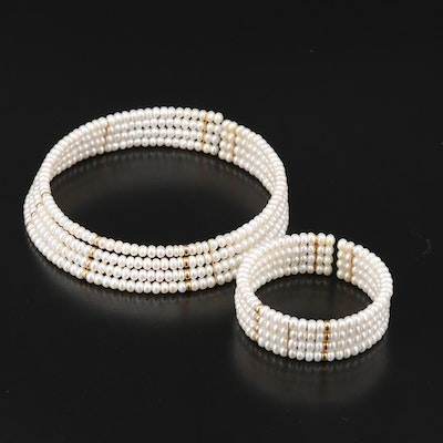 14K Pearl Collar and Cuff Set