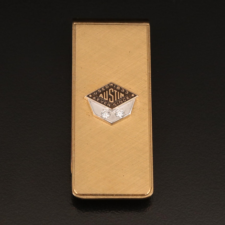 Austin Diamond Money Clip with Florentine Finish