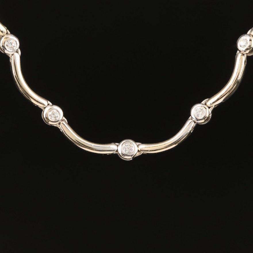 18K Diamond Scalloped Station Necklace