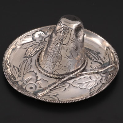 Maciel Mexican Sterling Silver Cowboy Hat Trinket Dish, Mid to Late 20th C.