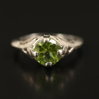 Art Deco 14K Peridot Openwork Ring