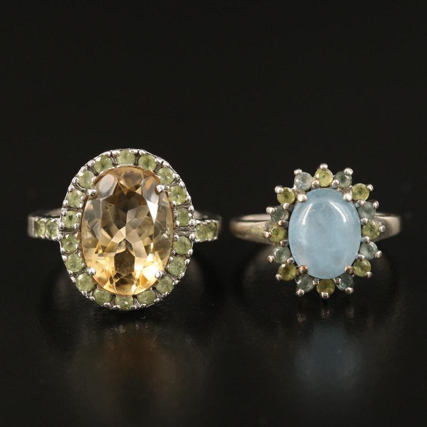 Sterling Citrine, Prasiolite and Beryl Rings