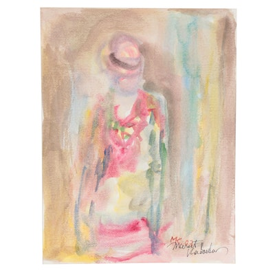 Murat Kaboulov Abstract Watercolor Painting of Standing Figure, 2007