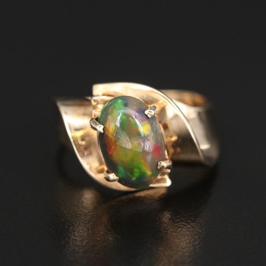10K Opal Swirled Ribbon Ring