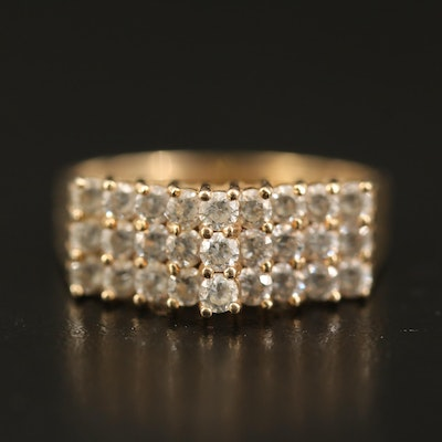 10K Cubic Zirconia Stepped Ring