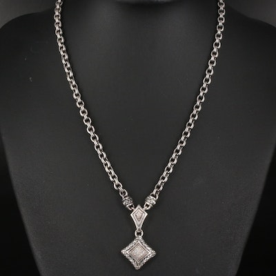 Scott Kay Sterling Diamond Pavé Pendant Necklace with Folder