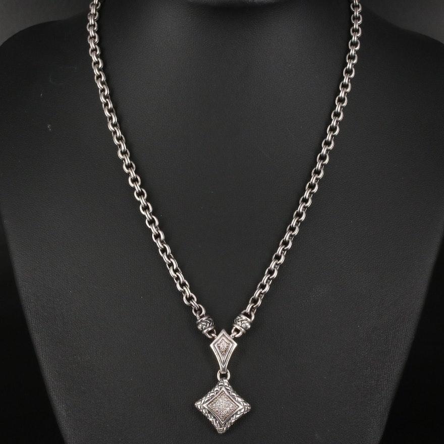 Scott Kay Sterling Diamond Pavé Pendant Necklace with Folder