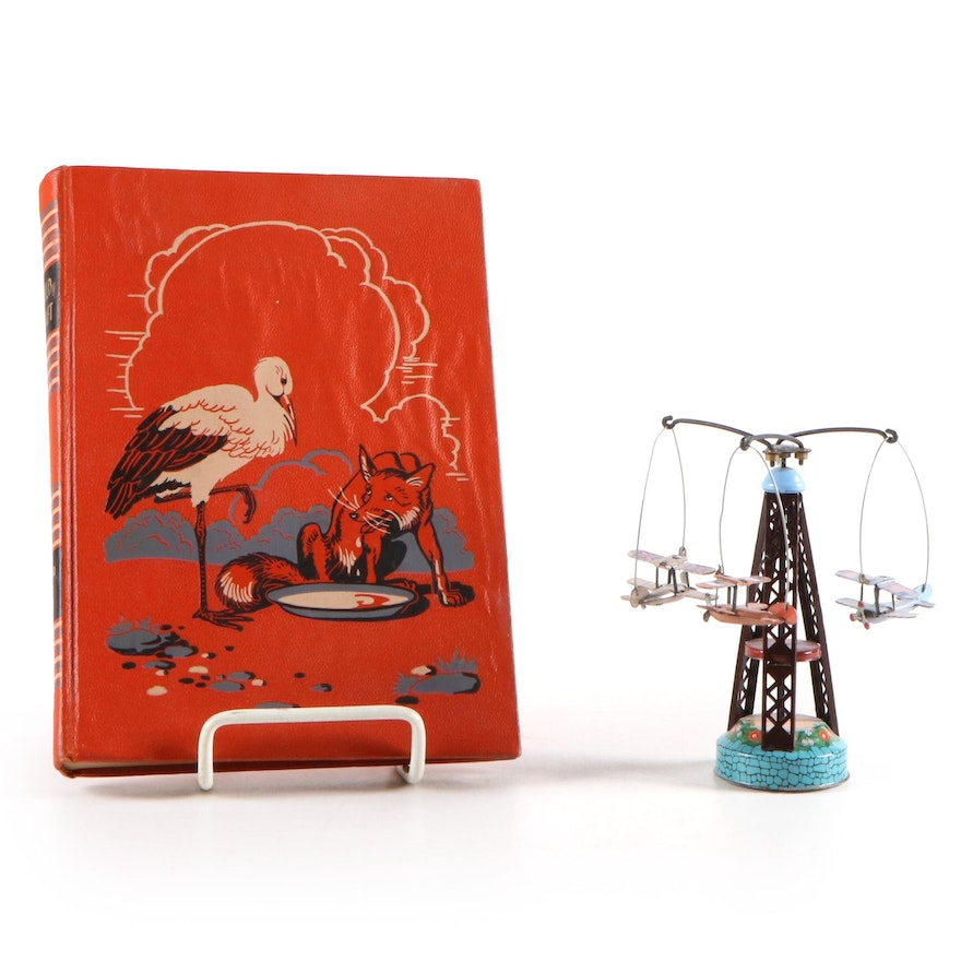 """Childcraft """"Folk and Fairy Tales"""" Vol. III with Tin Airplane Mobile"""