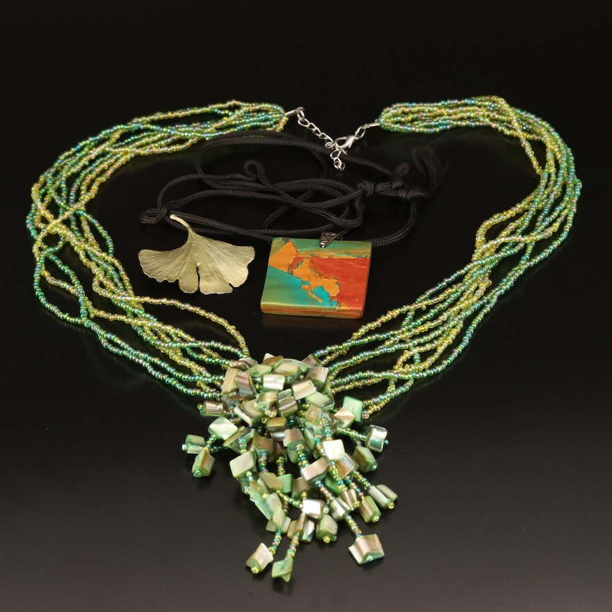 "Assorted Necklaces and Michael Michaud ""Ginko"" Leaf Brooch Including Gemstones"