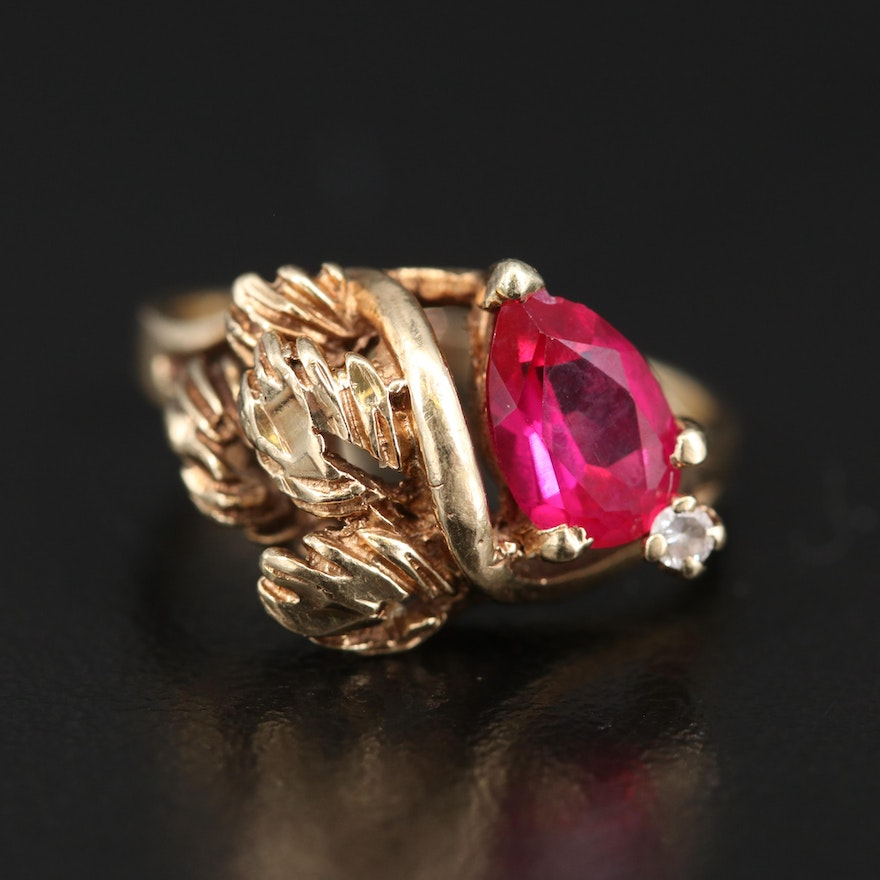 Vintage 10K Ruby and Cubic Zirconia Foliate Ring