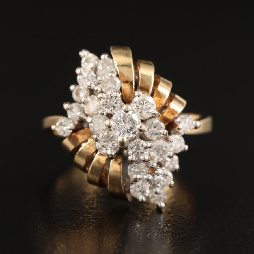 Vintage 1.00 CTW Diamond Cluster Ring