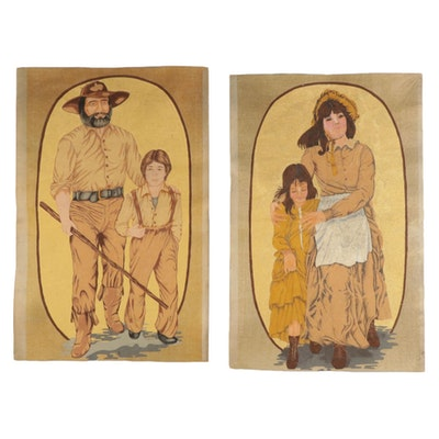 American Prairie Figures Lithographic Prints on Fabric, Mid to Late 20th Century