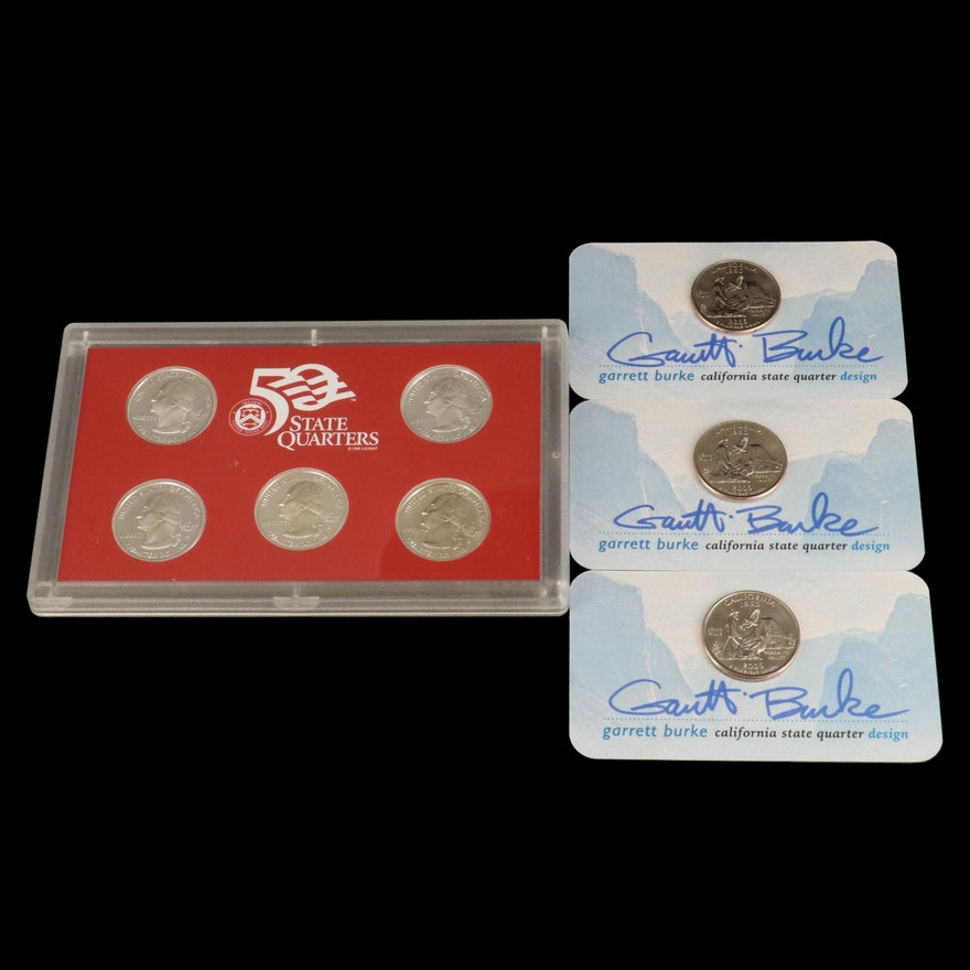 Statehood Quarters Silver Proof Set and Three Quarters Signed by Garrett Burke