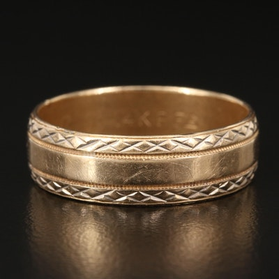 14K Milgrain and Lattice Pattern Band
