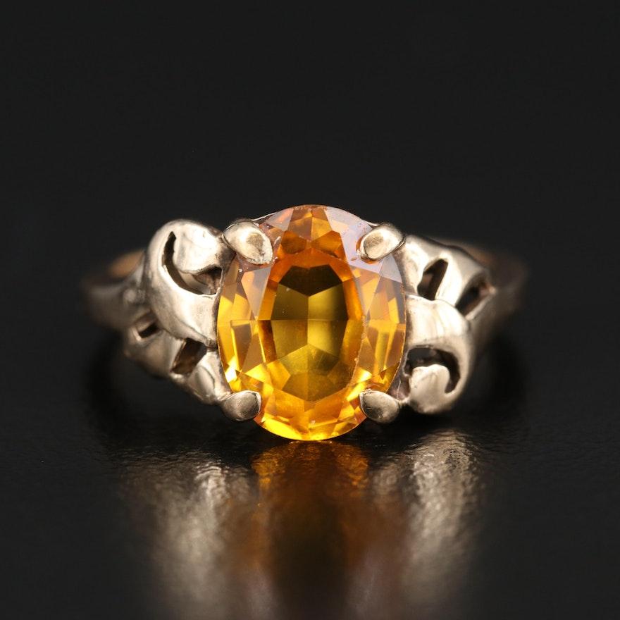 Vintage 10K Sapphire Openwork Ring