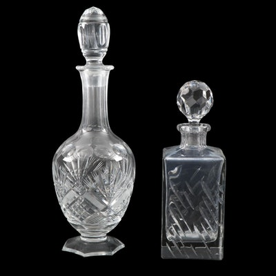 Rogaska Crystal Square Decanter with Other Footed Cut Crystal Decanter