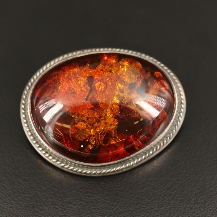 Sterling Amber Brooch