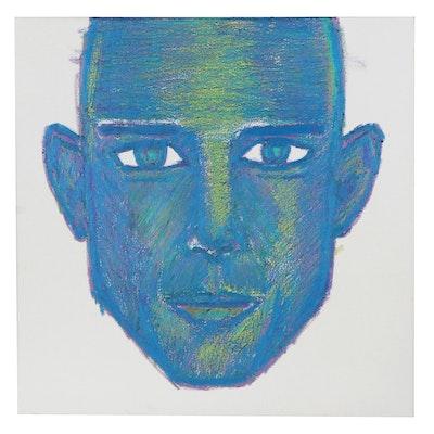 """David L. Estep Paintstik Oil Drawing """"Blue,"""" 2020"""