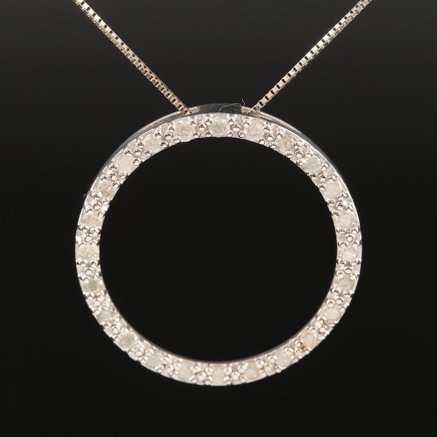 10K Diamond Circle Pendant on 14K Box Chain