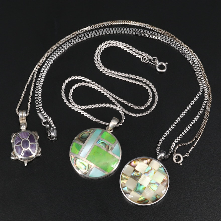 Gaspeite, Mother of Pearl, Abalone and Agate Inlay Necklaces Including Sterling