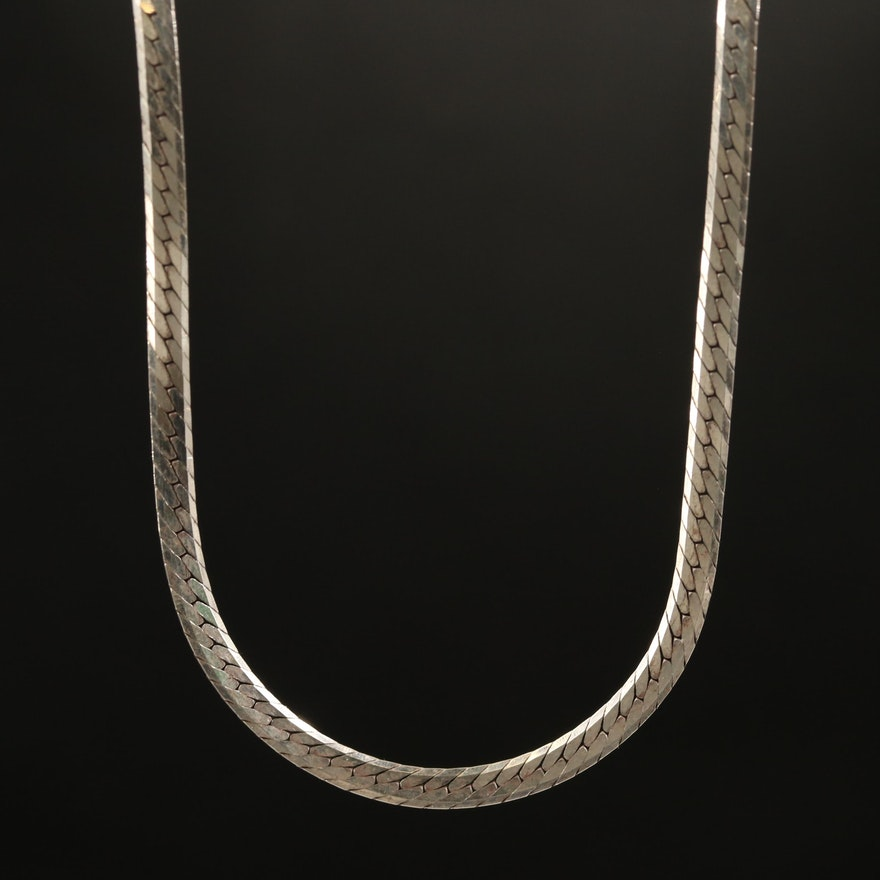Sterling Herringbone Chain Necklace